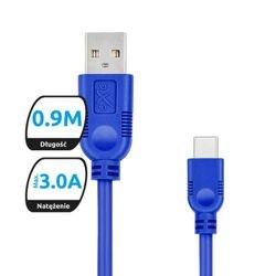 Kabel USB-USB typ C eXc WHIPPY 0,9m granatowy