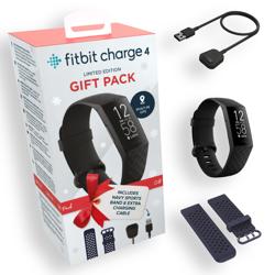 Zestaw prezentowy - Smartband Fitbit Charge 4 czarny + opaska + kabel