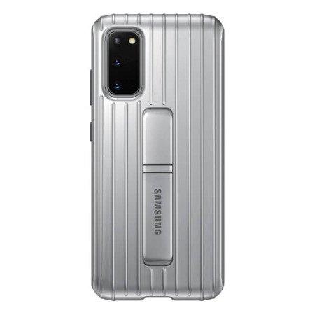 Etui z podstawką do Samsung Galaxy S20 srebne