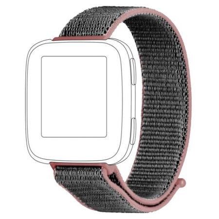 Pasek TOPP do Fitbit Versa nylon siatka szaro-różowy