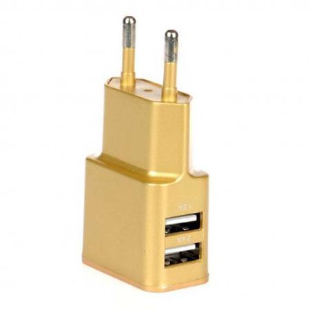 WG Ładowarka sieciowa USB, DUAL USB (2.4A) złota / paper box