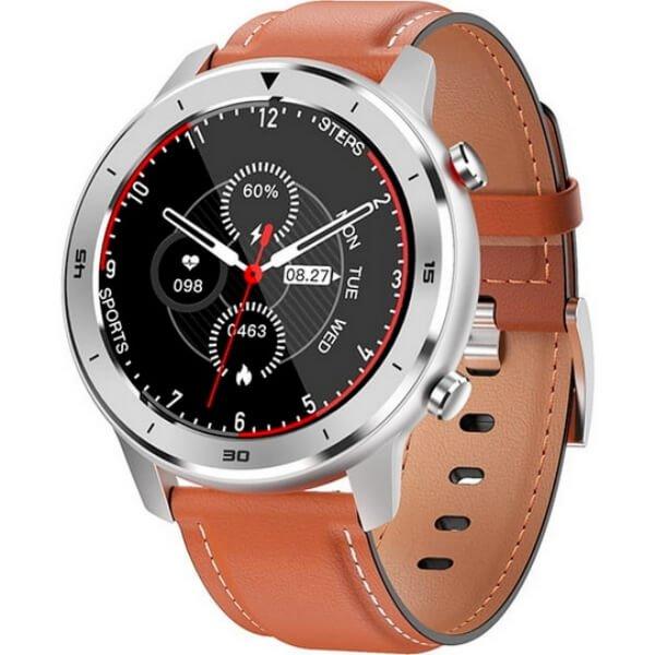 Zegarek - Smartwatch Męski Garett Men 5S pomarańczowy z skórzanym paskiem