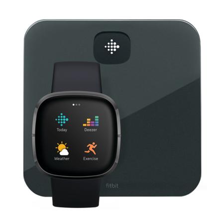 Zestaw: Smartwatch Fitbit Sense czarny + Inteligentna waga Fitbit Aria Air czarna